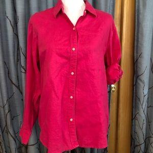 Lauren Ralph Lauren L 100% linen pink Button top